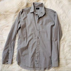 Vince Pinstripe Raw Hem Button Shirt Med